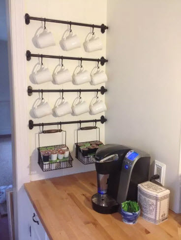 Kitchen organization Ideas - Use Walls for Hanging Mugs