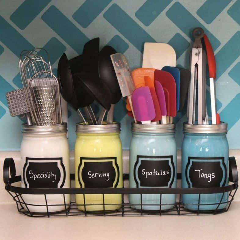 Kitchen Organization Ideas - Store Utensils in Mason Jars