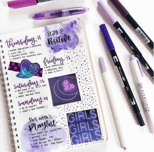 Bullet Journal Spreads - Purple Daily Spread
